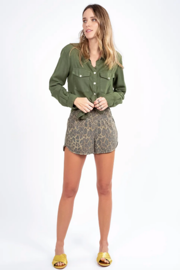 Olive Shirt with Rhinestone Wings