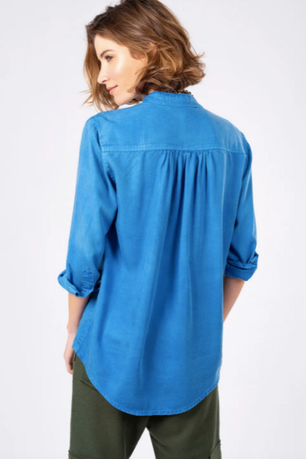 Mao Collar Tencel Shirt