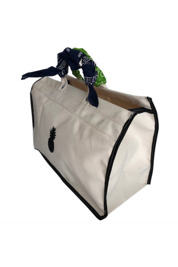 White Canvas Tote with Bandanas