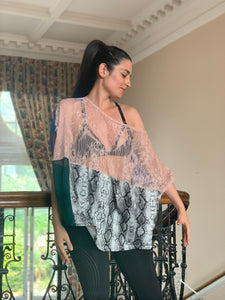 see-through T-shirt colorful embroidery front lace pink green sheer top