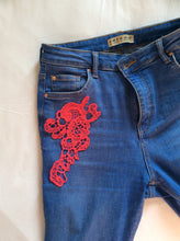 Load image into Gallery viewer, Three Embroidered iron on Patches to mend and customize your clothes.  Medium flowers