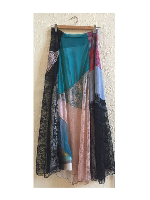 skirt patchwork back print long a-line boho