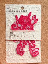 Load image into Gallery viewer, Pair of Rose Flower Embroidered Patches Iron Sew On Embroidery Patch Pink