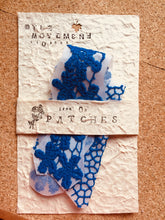 Load image into Gallery viewer, Pair of Blue Flower Embroidered Patches Iron On to Customize your Pockets