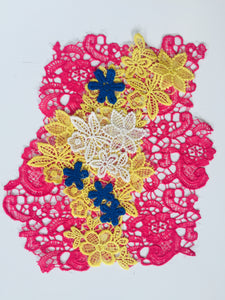collage combination four colors pink patch embroidry