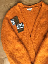Load image into Gallery viewer, orange, jumper, packaging, rework, repurpose, patches, sewing, easy, jersey, woven, sizes, rework, recycled