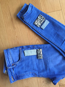 jeans, blue, stitches, packaging, rework, repurpose, patches, sewing, easy, jersey, woven, sizes, rework, recycled