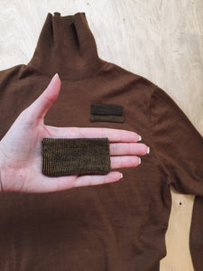position, diy, patches, square, colors, textures, mend, care, sew, craft, up cycled, recycled, repurpose, repair, stich, kit, patch, movement, easily, customize, clothes, garments, brown