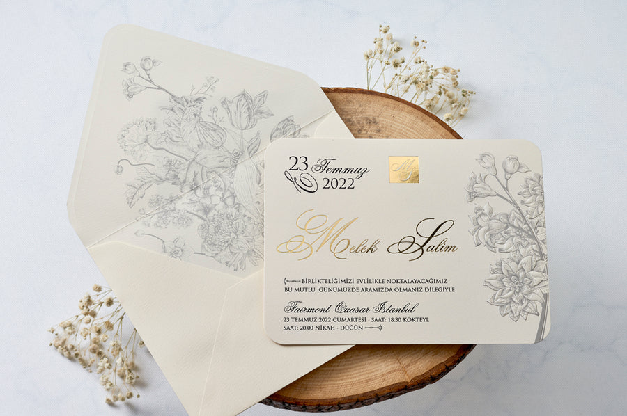 Black and Gold Foil printed with Embossed Tree Design Wedding Engagement and Event Invitation