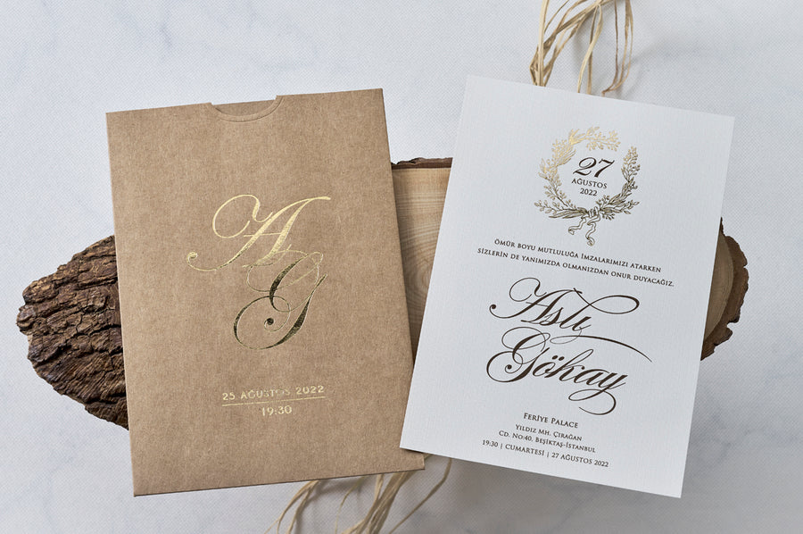 Craft with Gold Foil Wedding Bridal-Shower Engagement and Event Invitations
