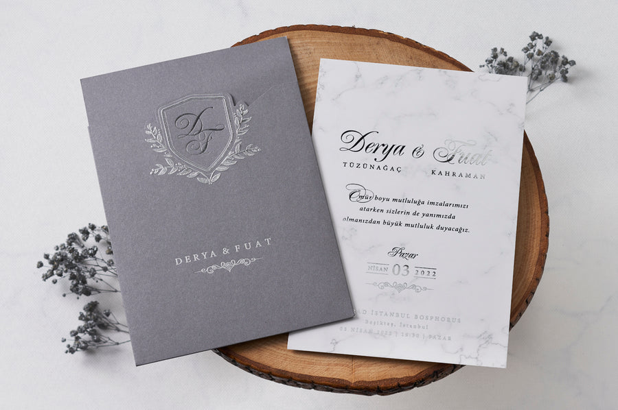 White Marble Wedding Engagement and Event Invitations with Silver Foil Printed Pouch Style Open Envelope
