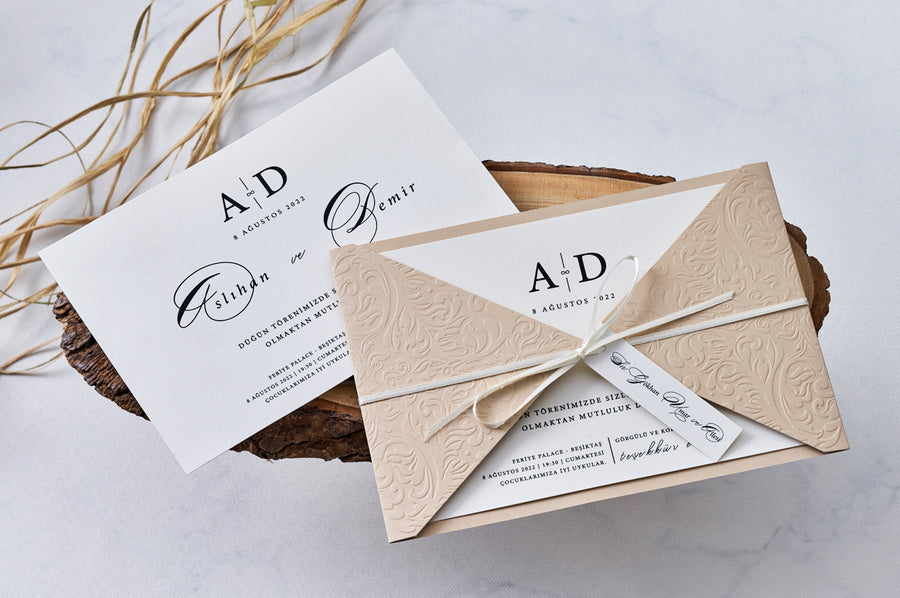 Embossed Floral Design and Triangle Wings with Ribbon Seal Three Way Folded Wedding Engagement and Event Invitations