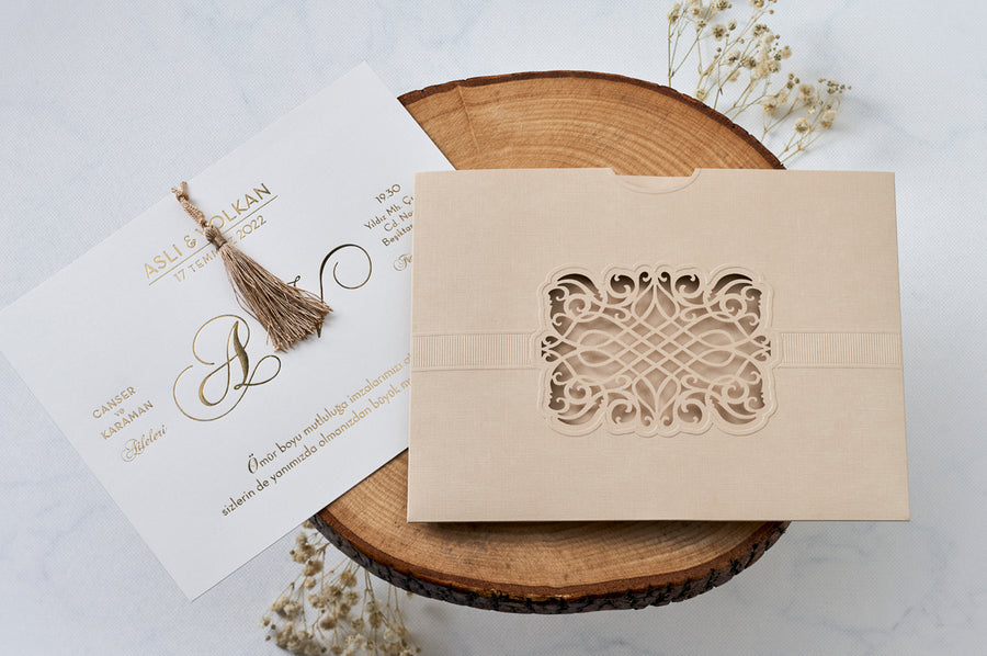 Cream Laser Cut Wedding Engagement and Event Invitation with Gold Fridge