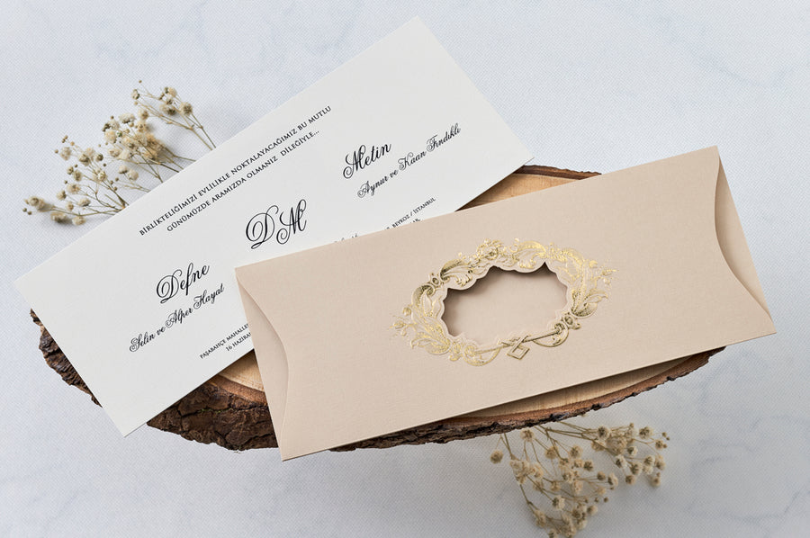 Creme Pouch With Hot Gold Foil Framed Window And Premium Paper Wedding Engagement and Event Invitations