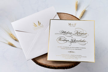 Wheat Themed Envelope White Flat Gold Frame Invitation Hot Foil Gold Color Fonts On Premium Paper Wedding Engagement and Event Invitations
