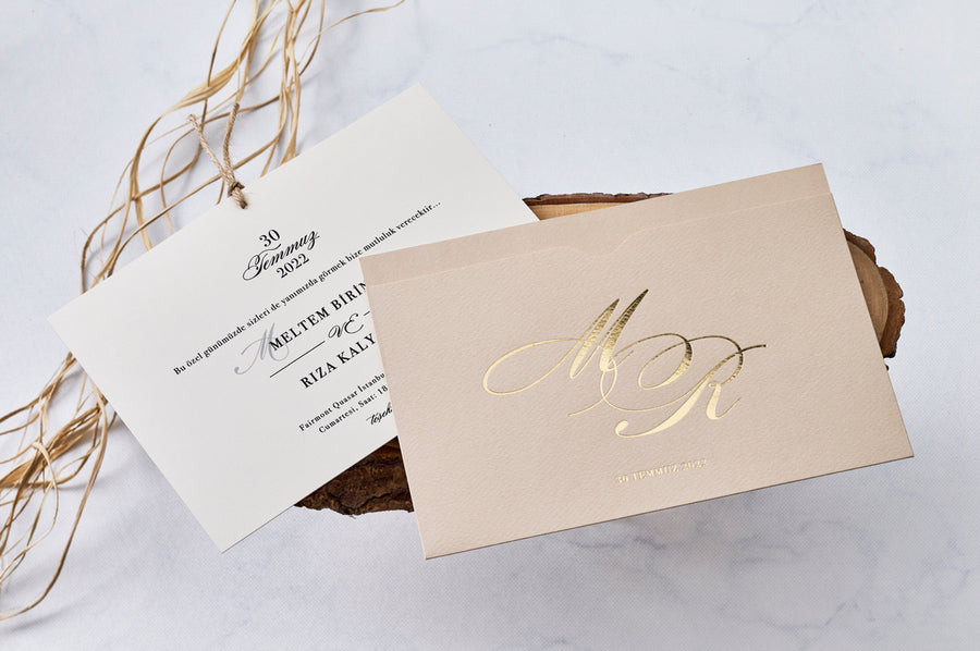 Black Printed Premium Paper Gold Hot Foil Initials Debossed Cream Wedding Engagement and Event Invitations