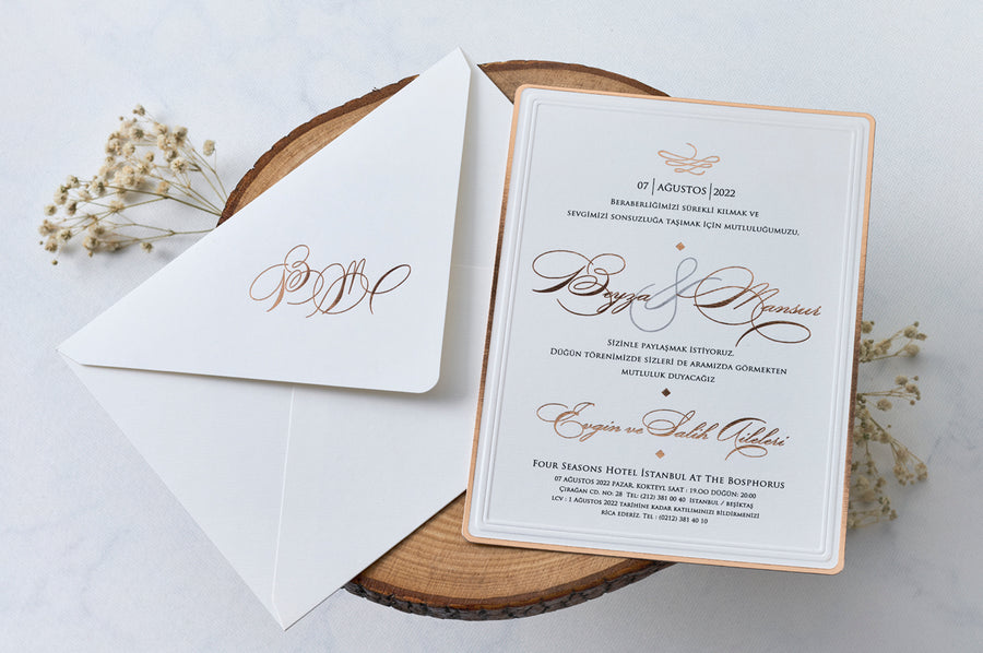 Rose Gold Foil Printed and Framed Insert Card with Rose Gold Hot Foil Initial Printed Wedding Engagement and Event Invitations
