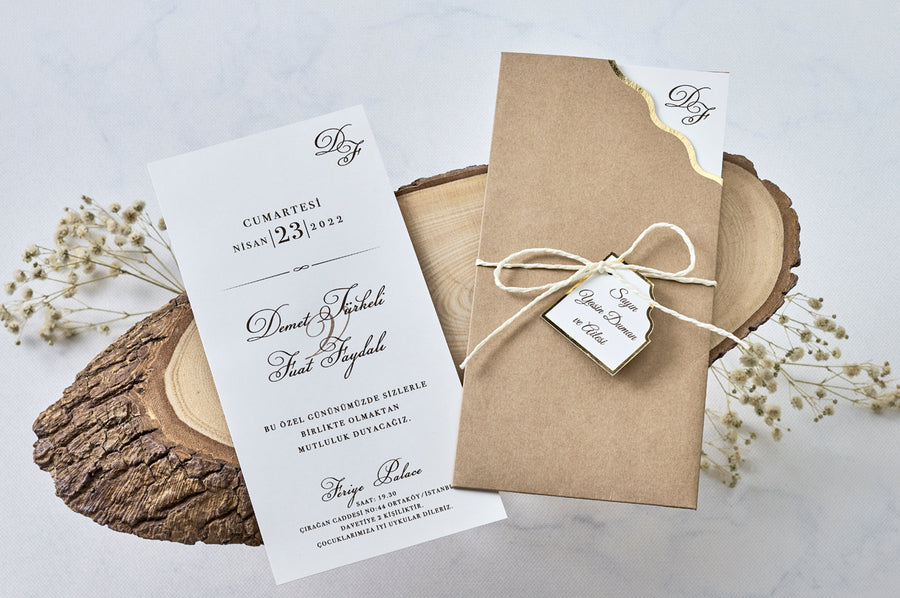 Craft Paper Rustic Pouch With Name Tag And Premium Paper Wedding Engagement and Event Invitations