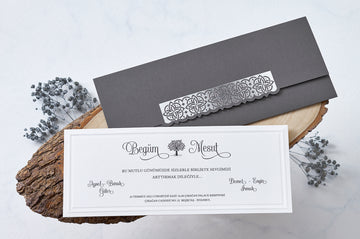 Silver Foil Wedding and Engagement Invitations