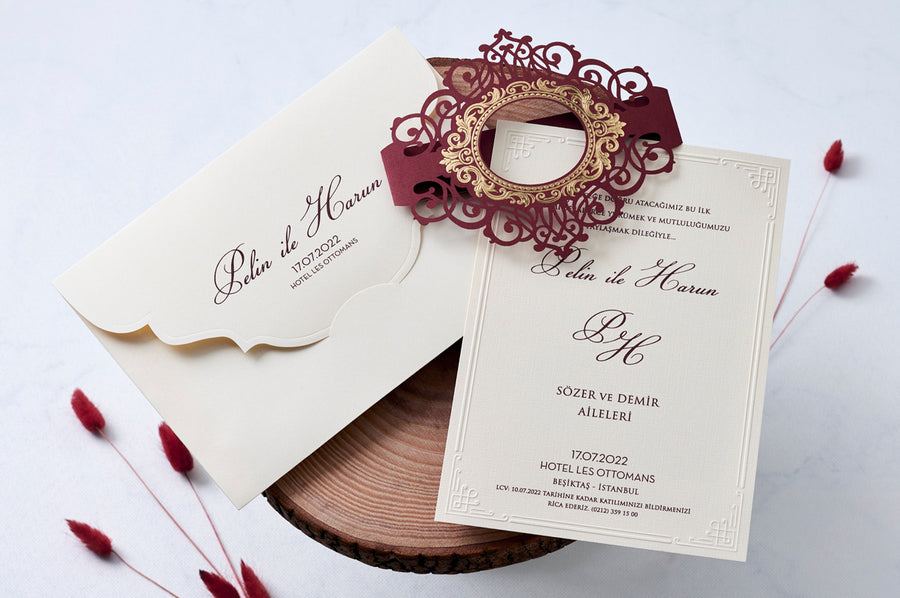 Maroon Laser Cut and Black Printed Wedding Event Bridal-Shower and Engagement Invitations