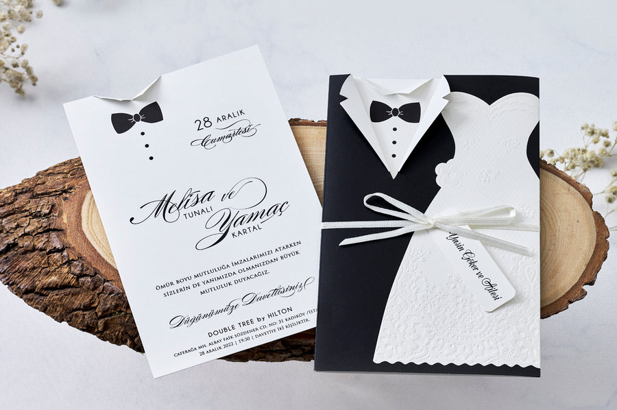Bride and Groom Design Wedding Engagement and Event Invitations with White Ribbon