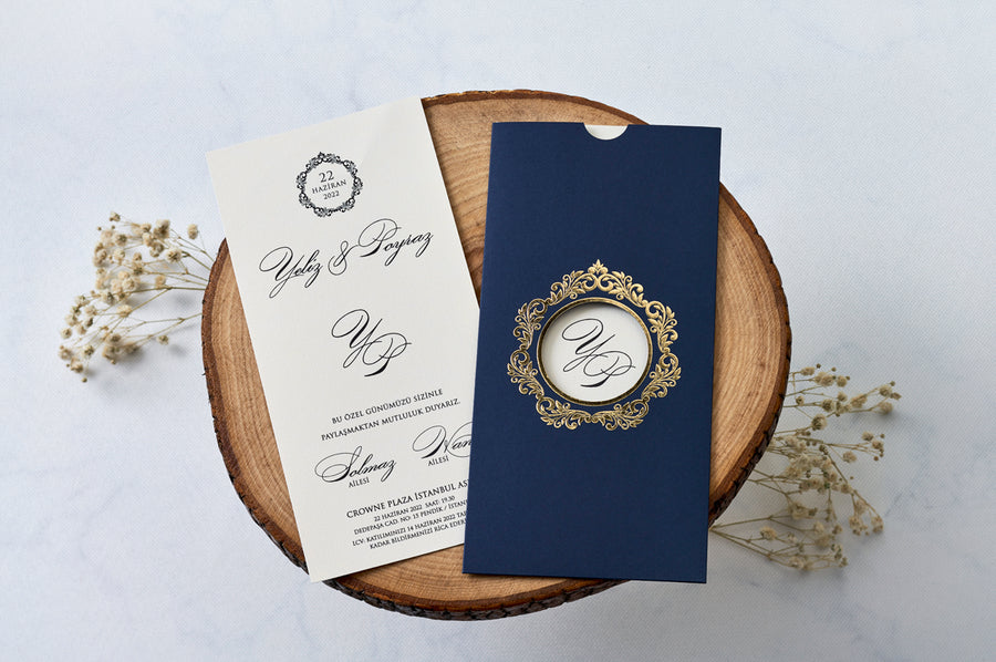 Royal Blue Pouch With Hot Gold Foiled Window And Premium Paper Elegant Modest Wedding Engagement and Event Invitations