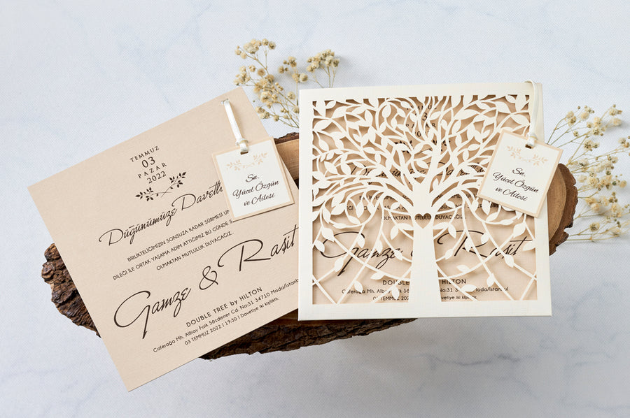 Laser Cut Tree Themed Pouch And Premium Paper With Name Tag Wedding Engagement and Event Invitations