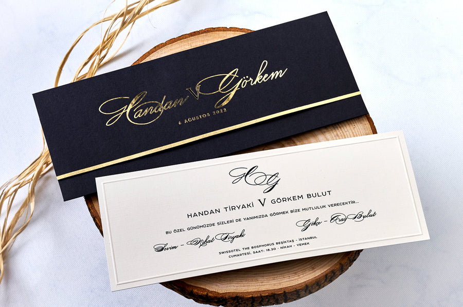 Black Velvet Envelope With Embossed Framed Premium Paper Wedding Engagement and Event Invitations