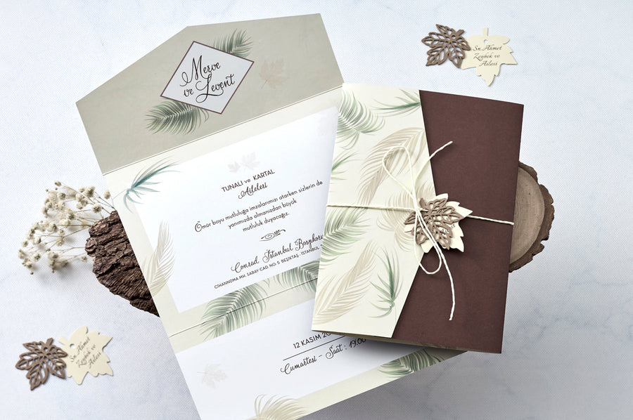 3 Way Folded Palm Leaf Theme Invitation With Laser Cut Leaf Design And Leaf Name Tag Premium Paper Wedding Engagement and Event Invitations