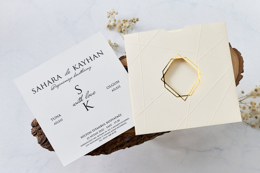 Creme Pouch With Hot Gold Foil Edged Window And Embossed Asymmetric Lines With White Premium Paper Wedding Engagement and Event Invitations