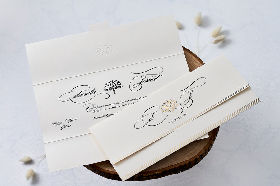 Three Way Folded Wedding Engagement and Event Invitations