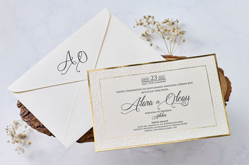 White Envelope With Initials Printed And Premium Paper With Gold Hot Foil Frame Wedding Engagement and Event Invitations