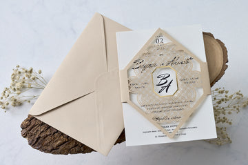 Black Printed Laser Cut Cream Wedding Engagement Bridal-Shower and Event Invitations