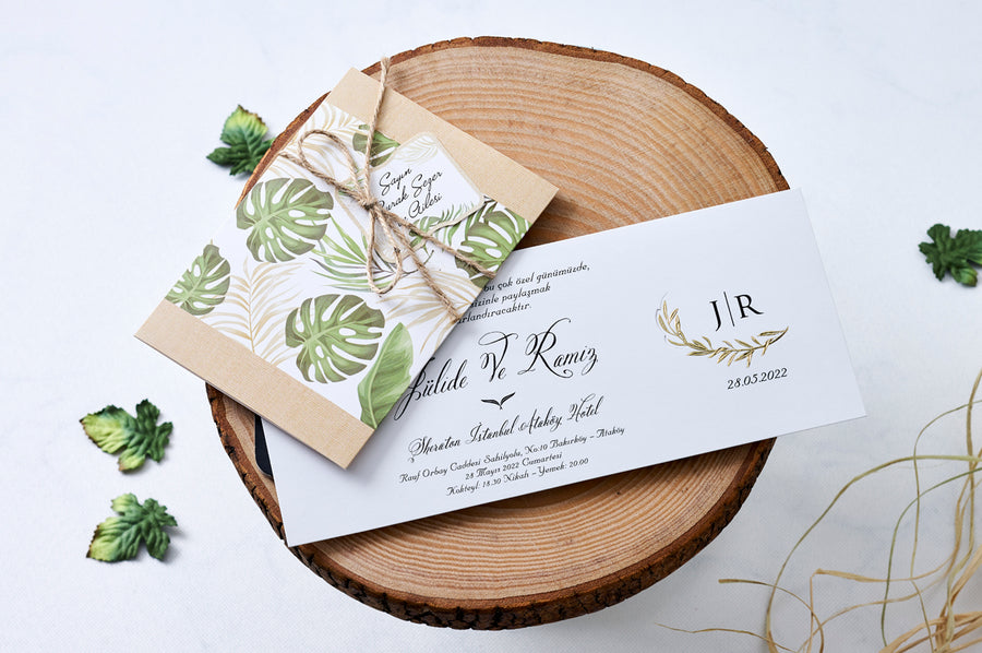Floral Design with Rustic Rope Wedding Engagement and Event Invitations