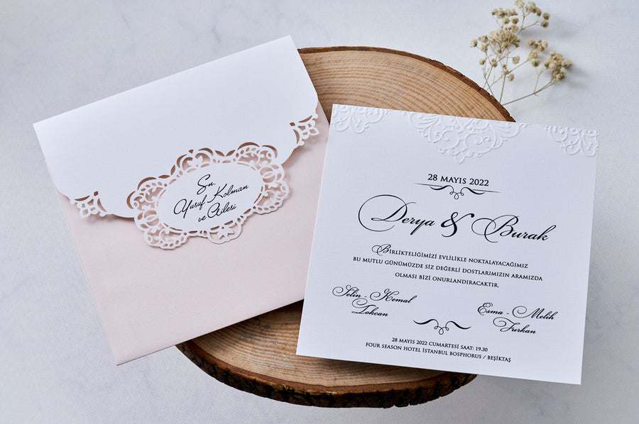 Pink Laser Cut Outher with White Embossed Wedding Engagement and Event Invitation