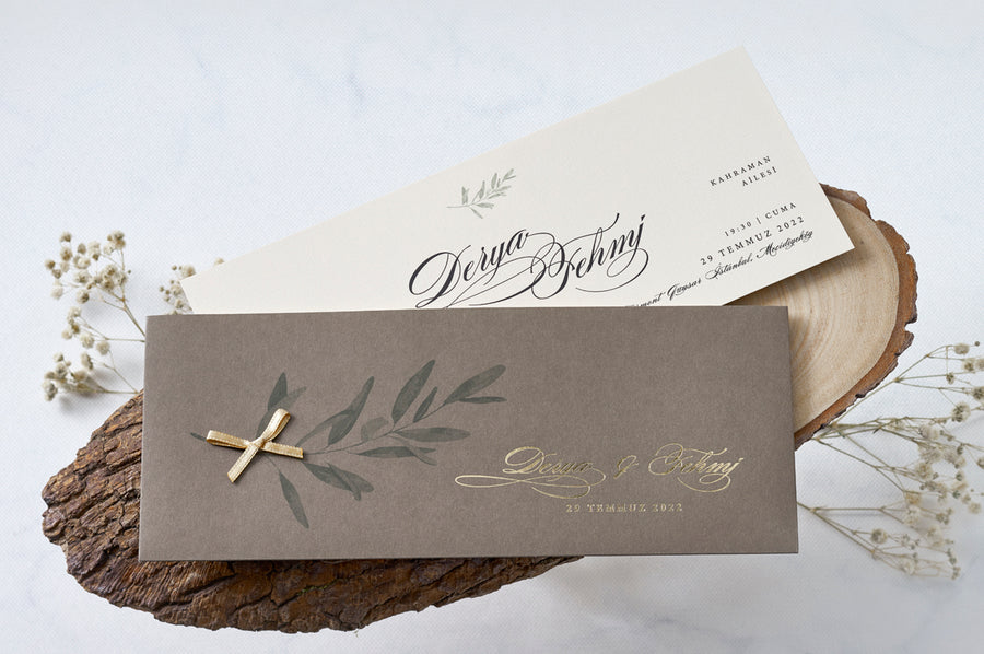 Taupe Olive Branch with Gold Color Ribbon and Gold Foil Printed Wedding Engagement and Event Invitations