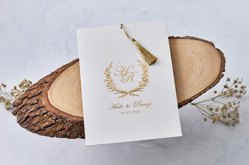 Gold Fringe with Gold Printed White Outer Wedding Engagement and Event Invitations with White Envelope