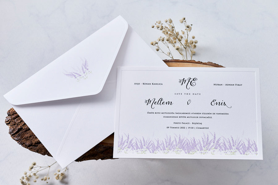 Lavender Wedding Engagement and Event Invitations with White Envelope
