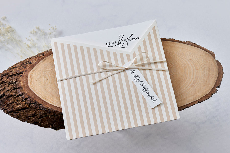 Cream White Striped Pouch With Name Tag And Premium Paper Wedding Engagement and Event Invitations