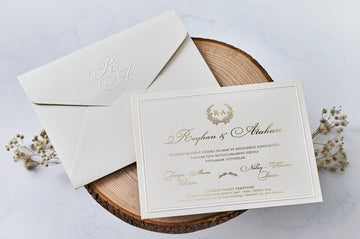 Embossed Gold Foil Printed Wedding Engagement and Event Invitations with Embossed Initial Envelope