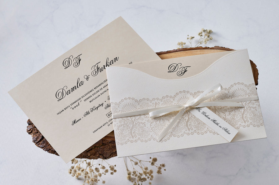 Modest Black Printed Cards with Ribbon Wedding Bridal-Shower Engagement and Event Invitations