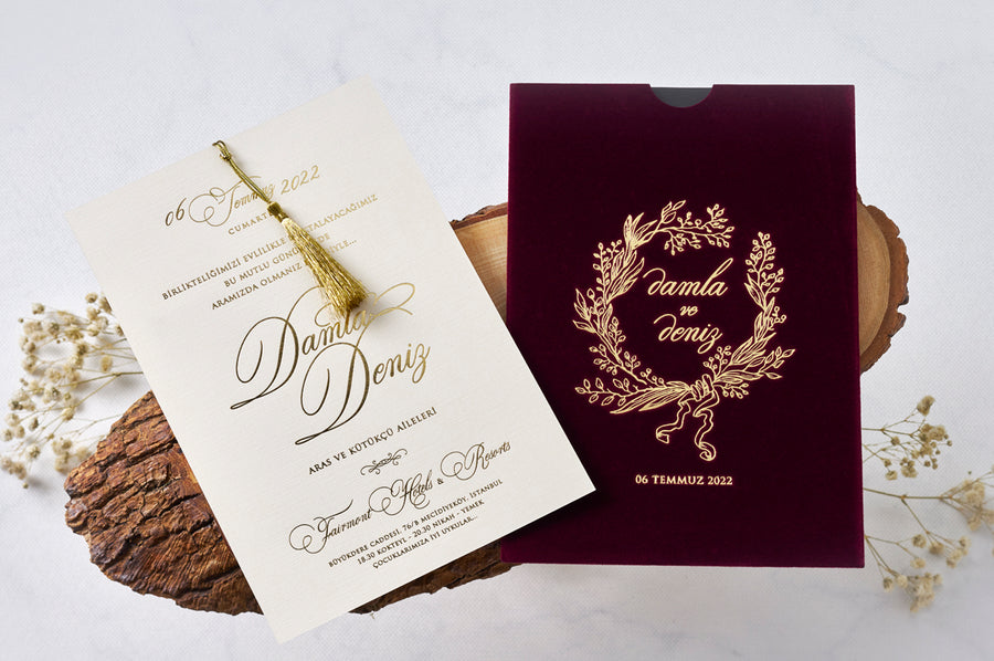 Burgundy Velvet Pouch With Hot Gold Foil Debossed Names and Premium Paper With Gold Fringe Wedding Engagement and Event Invitations