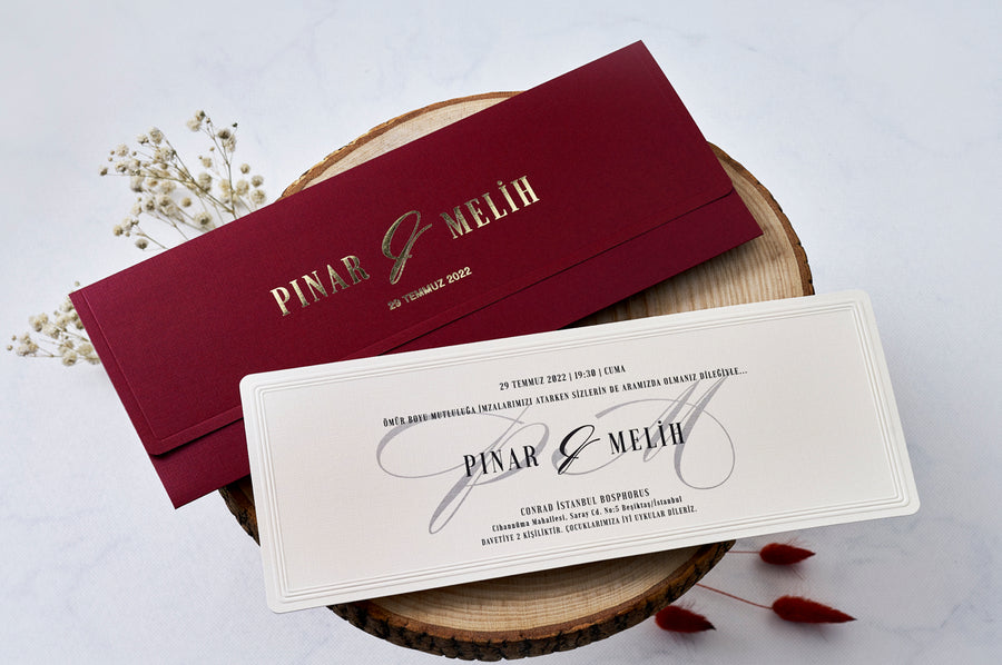 Gold Foil Printed Horizontal Red Wedding Bridal-shower Engagement and Event Invitations