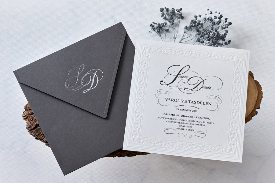 White Embossed Insert Cards with Grey Silver Foil Printed Initial Envelope Wedding and Engagement Invitations