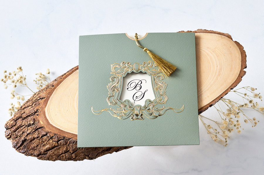 Green Pouch With Hot Gold Foil Framed Window And Premium Paper With Gold Color Fringe Wedding Engagement and Event Invitations