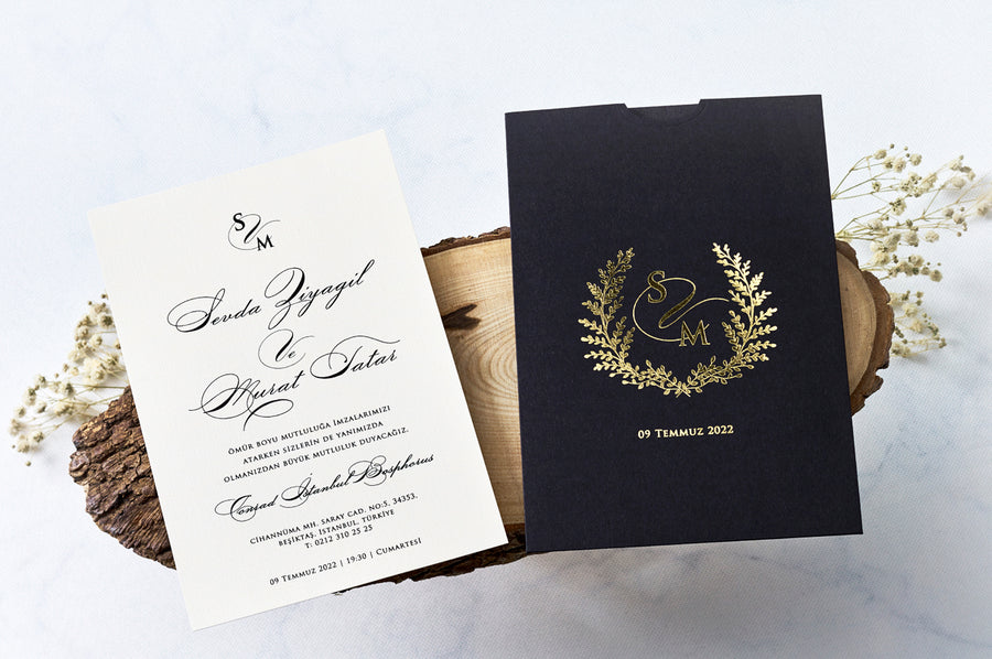 Black Velvet with Gold Printed Wedding Engagement and Event Invitations