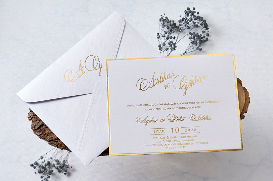 White Envelope With Hot Gold Foil Initials Printed With Premium Paper With Gold Frame Wedding Engagement and Event Invitations