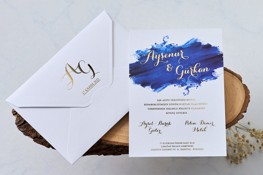 Gold Foil Printed Royal Blue Brushed Wedding Engagement and Event Invitations with Gold Initial Printed White Envelope