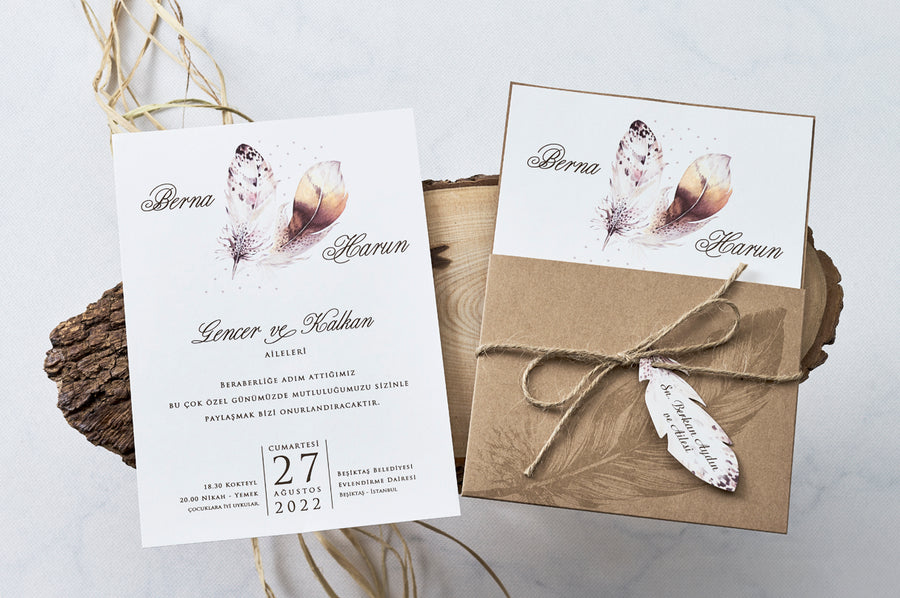 Feather Design Wedding Engagement and Event Invitations with Rustic Pouch Style Open Envelope