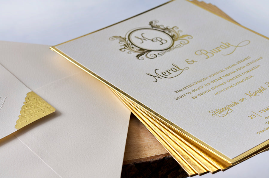 Premium Thick Gold Framed and Printed Wedding Engagement and Event Invitations